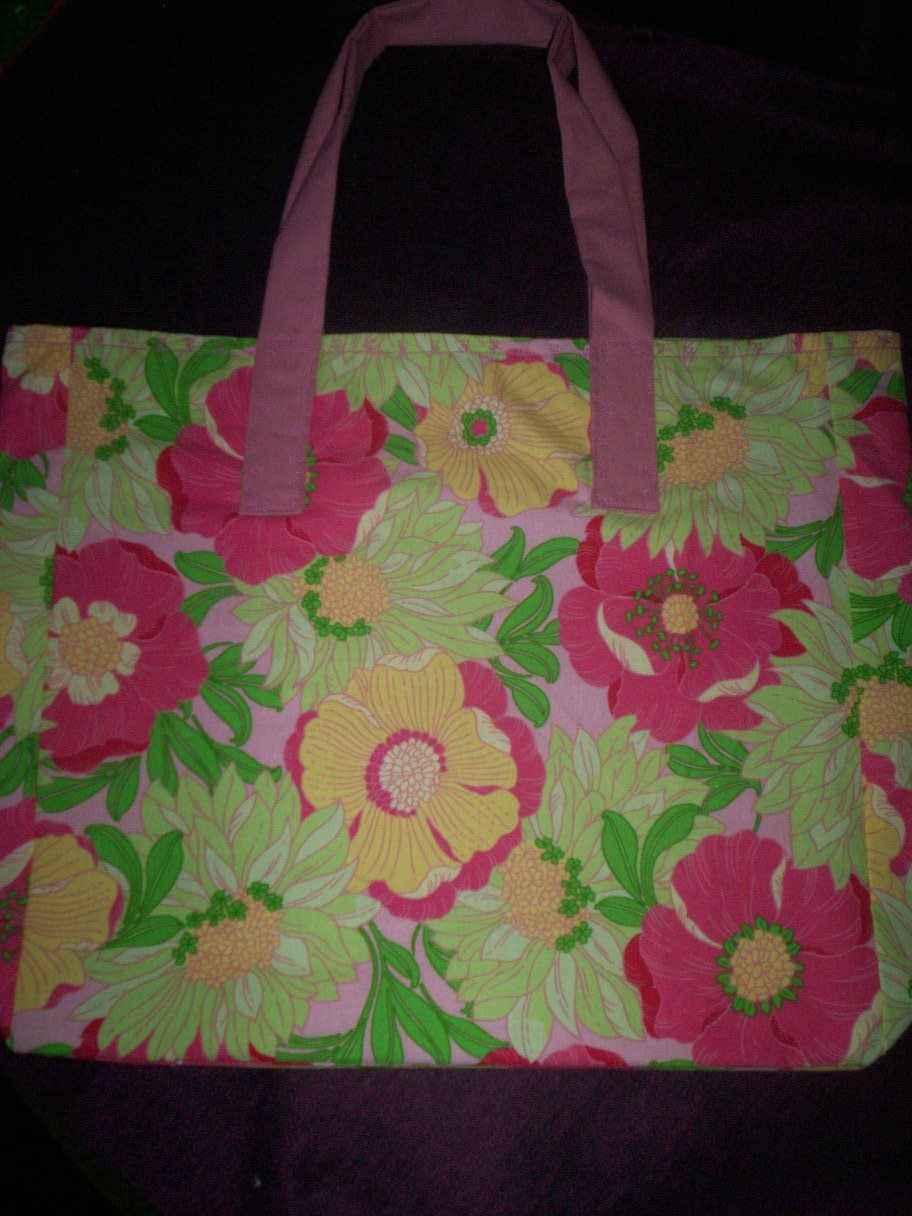 whimsical hippy flowers tote bag reusable go green handcrafted bags