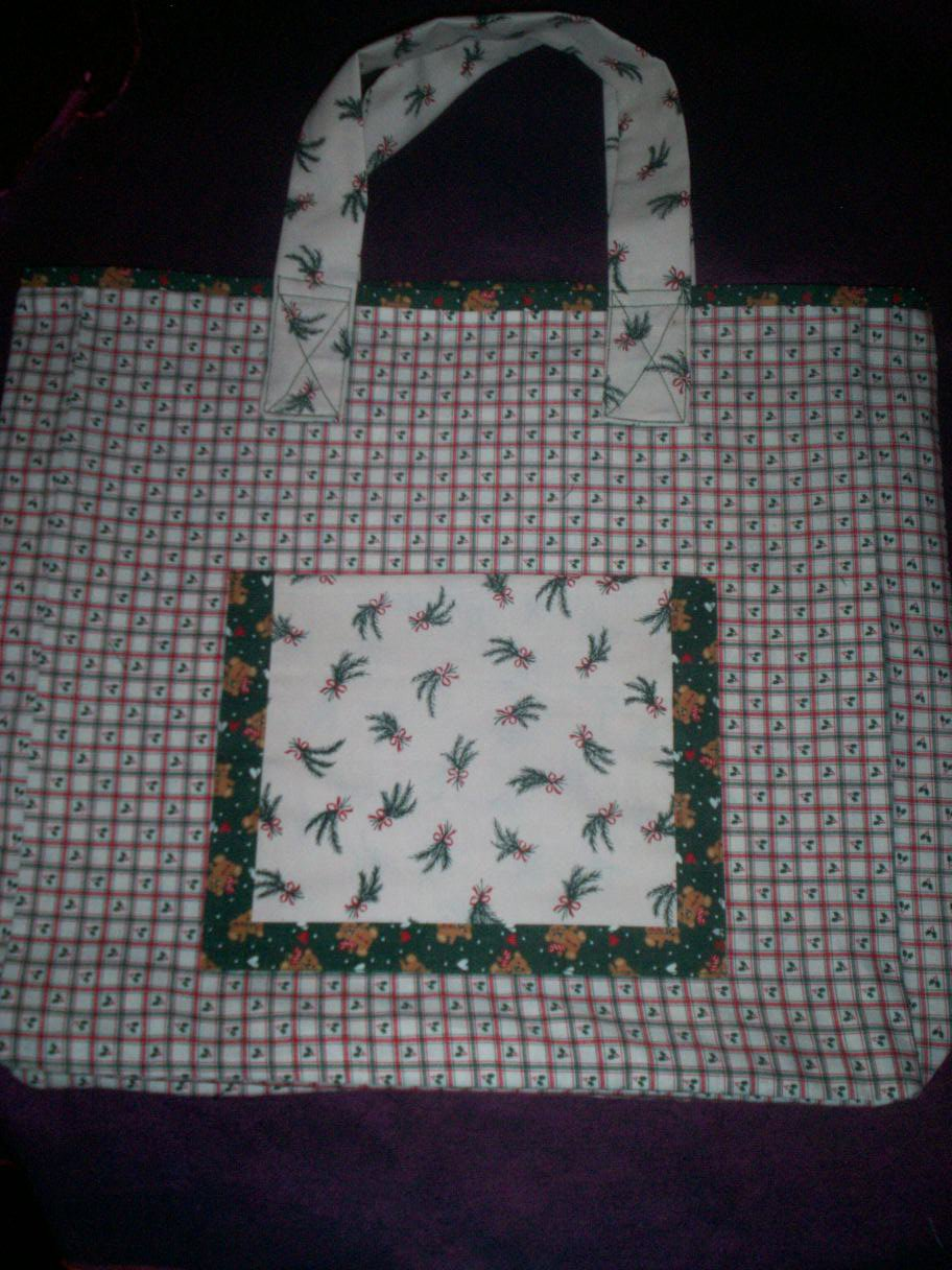 christmas treasure teddy bears tote bag reusable go green handcrafted bag