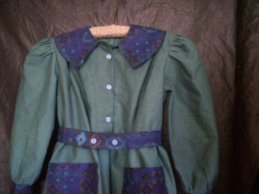olive green southwestern blue motif dress handmade