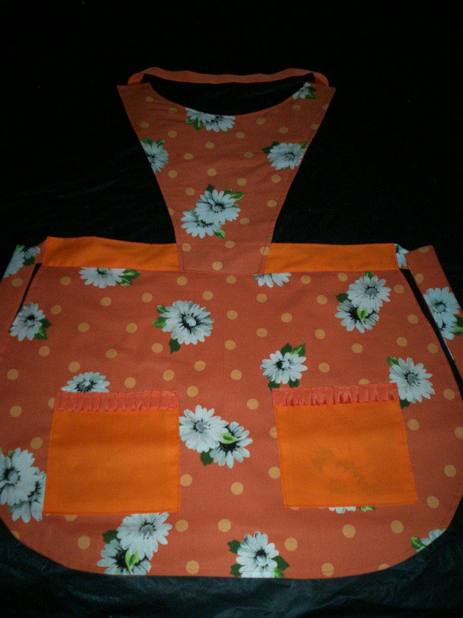 bib apron daisies on orange handmade