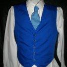 mens vest dark blue and light blue tie size 40 handmade