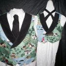 father and son vest and tie set handmade