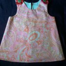 toddler sundress top pink paisley size 2T white cotton lining handmade