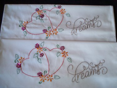 sweet dreams hearts and flowers 2 pillowcases embroidered