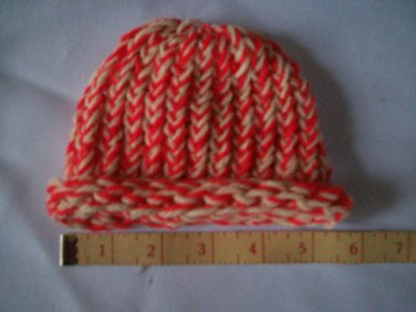 red and white candy cane Christmas preemie knitted winter hat handmade