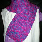 rainbow and purple adult knitted winter scarf handmade