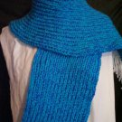 two tone blue loom knitted winter scarf handmade