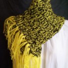 black and yellow loom knitted winter scarf handmade
