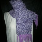 purple white lavender fringe adult knitted winter scarf handmade