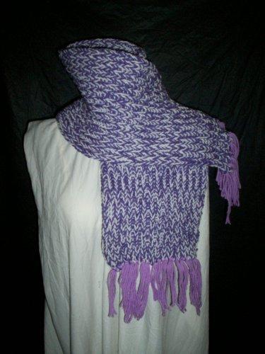 purple white lavender fringe adult knitted winter scarf handmade