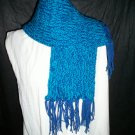 dark blue teal blue knitted winter scarf handmade