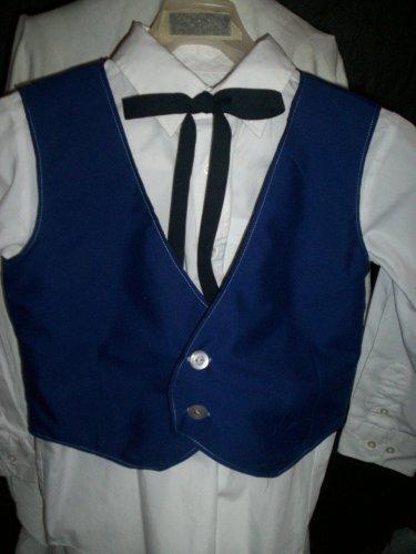 boy's blue vest and black tie combo size medium black lining handmade