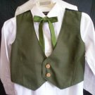 boy's olive green vest green tie combo size medium black back handmade