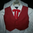 boy's burgundy and gold vest and red tie combo size small black back handmade