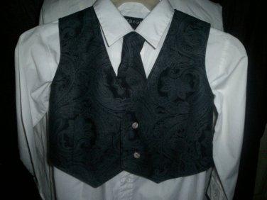 boy's vest and tie combo gray paisley on black handmade black back