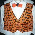boy's size large tie and vest combo Halloween pumpkins black lining handmade