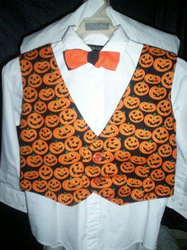 boy's size large tie and vest combo Halloween pumpkins black lining handmade