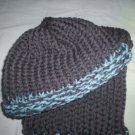 child's knitted hat and scarf set light blue and gray handmade