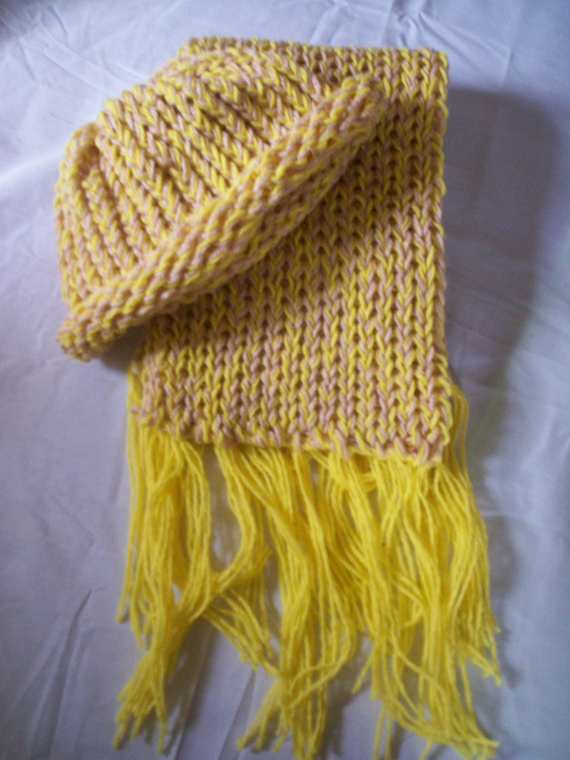 child's knitted hat and scarf set light tan and yellow handmade