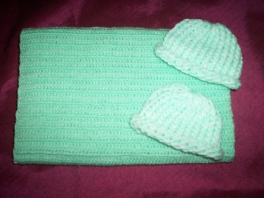 preemie pastel green crochet blanket plus 2 knitted winter hat handmade