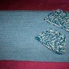 preemie steel blue crochet blanket plus 2 knitted winter hat handmade
