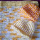 preemie multi color crochet blanket plus 2 knitted winter hat handmade