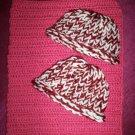 preemie crochet blanket plus 2 knitted winter hat rose burgundy white handmade