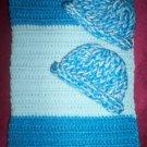 preemie dark blue baby blue crochet blanket plus 2 knitted winter hat handmade