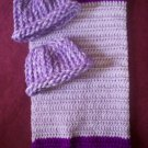 preemie crochet blanket royal purple lavender plus 2 knitted winter hat handmade