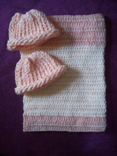 preemie crochet blanket peach plus 2 knitted winter hat handmade