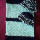 preemie navy blue baby blue crochet blanket plus 2 knitted winter hat handmade