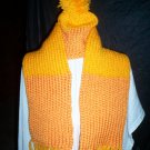 child hat scarf set knitted light and dark orange handmade