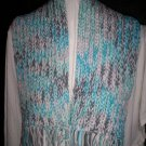 knitted winter scarf handmade baby blue and gray adult size