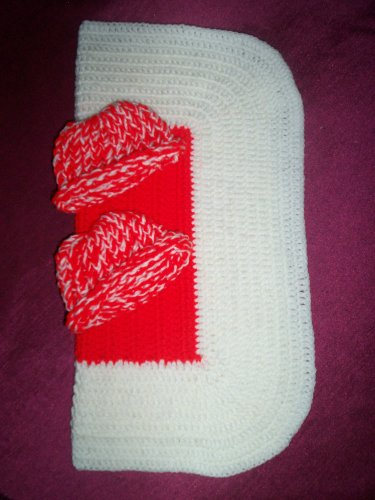 preemie white and red crochet blanket plus 2 knitted winter hat handmade