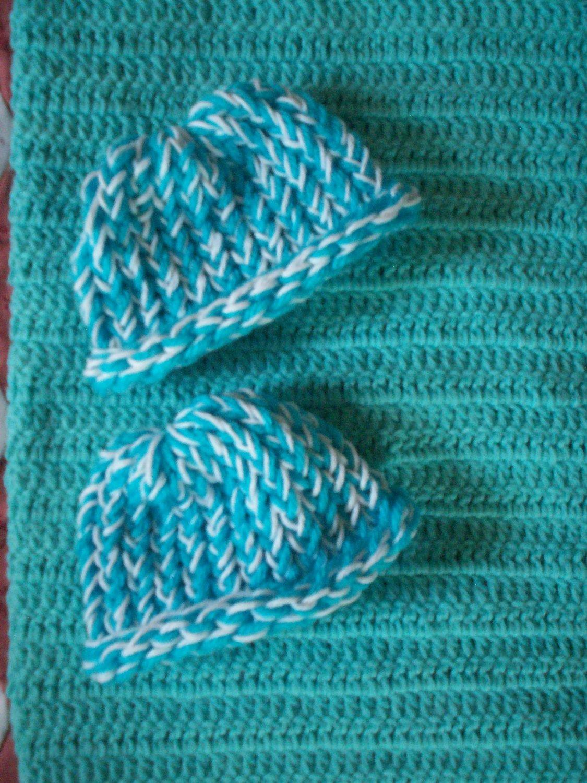preemie aqua crochet blanket plus 2 white and blue knitted winter hat handmade
