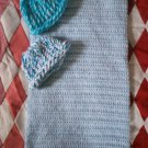 preemie baby blue crochet blanket plus 2 knitted winter hat handmade