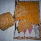 tan crochet quilted blanket plus mom scarf 2 knitted winter hat preemie