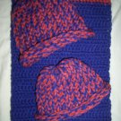 preemie crochet royal blue and rose blanket plus 2 white and blue knitted winter hat handmade