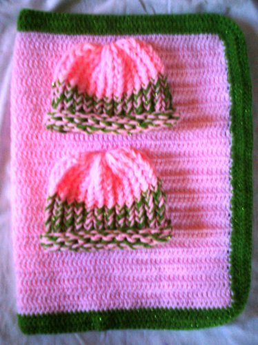 preemie pink with sparkly green crochet blanket plus 2 knitted winter hat handmade