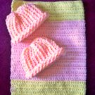 preemie pastel yellow pink crochet blanket plus 2 knitted winter hat handmade