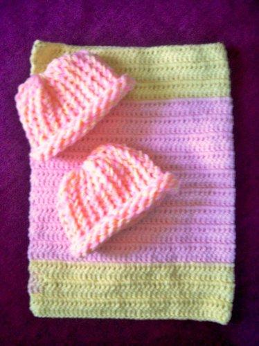 preemie pastel yellow pink crochet blanket plus 2 knitted winter hat handmade