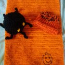 halloween crochet preemie blanket plus 1 knitted winter hat toy spider handmade