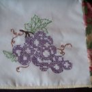 4 slice toaster cover purple grapes wild roses embroidered