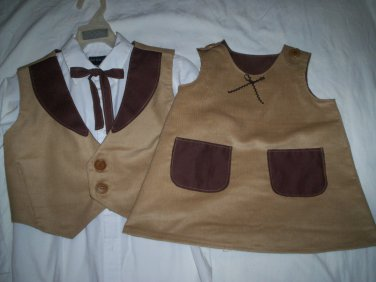 brother sister matching outfit western corduroy coco brown lining handmade