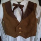 vest tie combo set boy light and dark brown handmade size medium