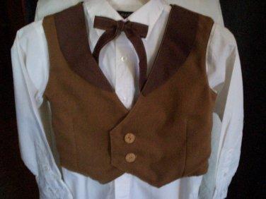 vest tie combo set boy light and dark brown handmade size medium