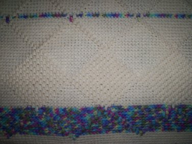 lap quilt crochet blue and cream handmade 53 by 42