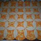 handmade less than traditional circle throw quilt 62 x 44 retro orange and cream