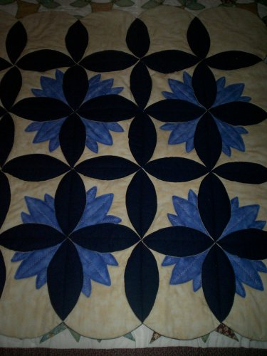 lap quilt less than traditional blue water lily 52 by 44 inches handmade