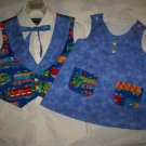 brother sister matching outfit trains vest and tie light blue dress white lining